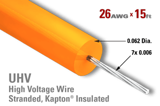 26 AWG, Stranded - Kapton Insulated High Voltage Wire