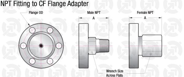 0 25 Npt Male 1 33 Cf Flange Adapter Accu Glass Products
