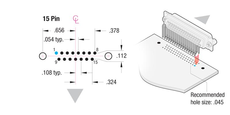 90° Printed Circuit Board 15-Pin Contact Hole Pattern