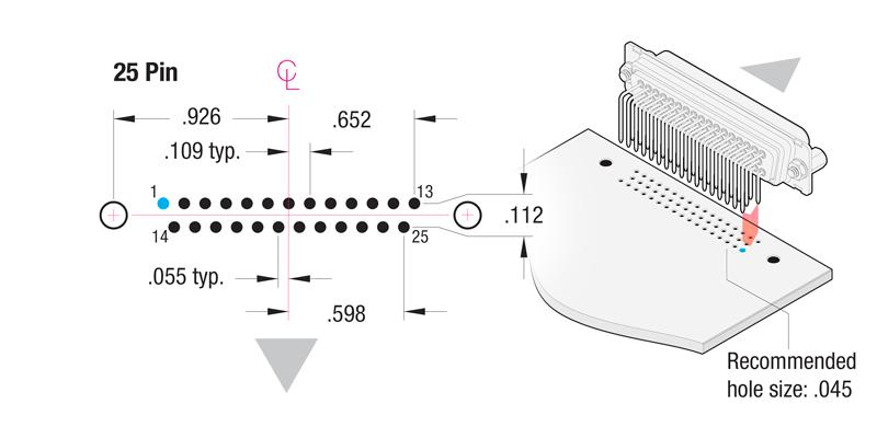 90° Printed Circuit Board 25-Pin Contact Hole Pattern