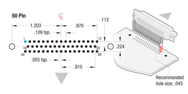 90° Printed Circuit Board 50-Pin Contact Hole Pattern