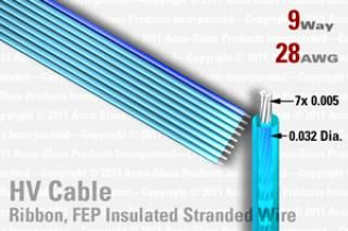 9 Way, Extruded FEP Insulated Ribbon Cable (Blue w/Blue Polarity stripe)