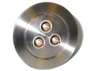 SHV-5 - Single Ended, Grounded Shield Feedthrough x3 on a KF50 Flange