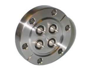 "MHV - Single Ended, Grounded Shield Feedthrough x4 on a 2.75"" CF Flange"