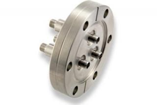 """SMA - Double Ended, Grounded Shield Feedthroughs x3 on a 2.75"""" CF Flange"""