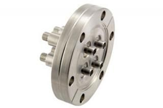 """SMA - Double Ended, Grounded Shield Feedthroughs x4 on a 2.75"""" CF Flange"""