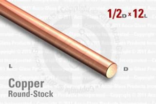 "OFE Copper Rod - 0.500"" OD, 12"" Long"