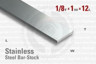"Stainless Steel Bar, 0.125""x1""x12"""