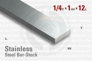"Stainless Steel Bar, 0.250""x1""x12"""