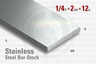 "Stainless Steel Bar, 0.250""x2""x12"""
