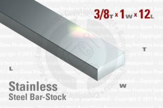 "Stainless Steel Bar, 0.375""x1""x12"""