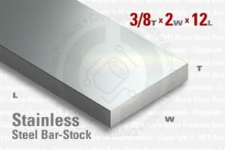 "Stainless Steel Bar, 0.375""x2""x12"""