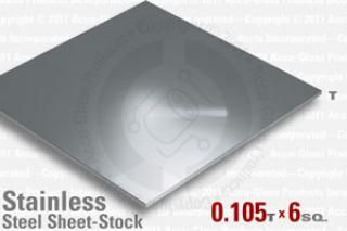 "Stainless Steel Sheet, 0.105"" Thick 6"" x 6"""