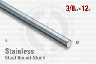 "Stainless Steel Rod, 0.375"" OD, 12"" Long"