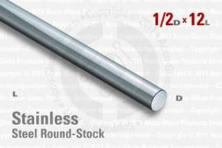 "Stainless Steel Rod, 0.500"" OD, 12"" Long"