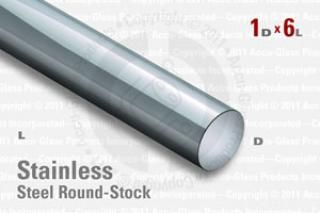 "Stainless Steel Rod, 1.00"" OD, 6"" Long"