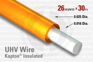 26 AWG - Solid Core Wire, Kapton Insulated