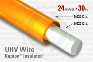 24 AWG - Solid Core Wire - Kapton Insulated