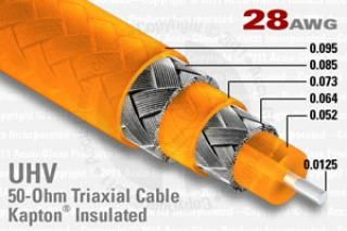 28 AWG, 50 Ohm Triaxial Cable - Kapton Insulated