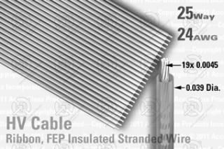 25 Way, Extruded FEP Insulated - Ribbon Cable (Clear)