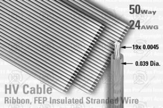 50 Way (25 Way x 2), Extruded FEP Insulated Ribbon Cable (Clear)