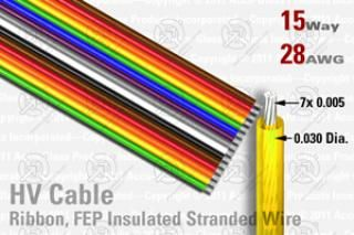 15 Way, Extruded FEP Insulated Ribbon Cable (Rainbow)
