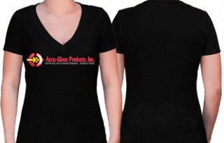 Tee Shirt, Women's Black V-Neck (S)