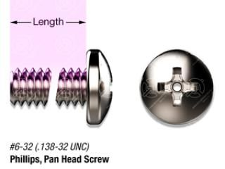 "3/4"" SS, #6-32 Vented Phillips Pan Head Screw"