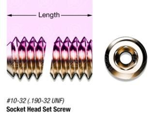 "1"" SS, #10-32 Vented Hex Socket Head Set Screw"