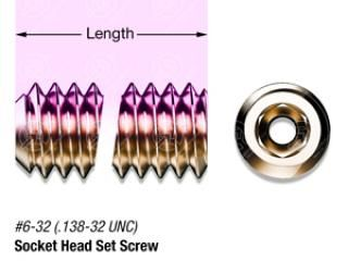 "3/8"" SS, #6-32 Vented Hex Socket Head Set Screw"